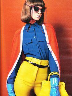 60's fashion on German Vogue....love the pop of color! Get your retro www.sunglassesuk.com Source http://www.zupi.com.