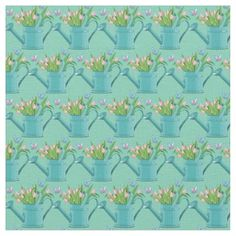 Watering Can of Flowers Spring Design Fabric