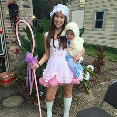 Little bo peep and baby lamb/sheep costumes Little bo peep costume with all accessories you see including baby lamb size 6 months. Super cute costume for mommy and baby. Boots not included in price. Sold separately size 6 for 40. Lamb costume has small tear in foot. Other