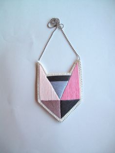 Colorblock embroidered pendant necklace with by AnAstridEndeavor