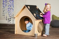 The Chalkboard Playhouse Mini is made in the US with sustainable and locally sourced birch.  It features a durable chalkboard roof and can be assembled or disassembled in minutes with no tools.