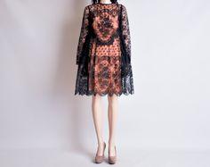 black chantilly lace dress / scallop hem / s. $565.00