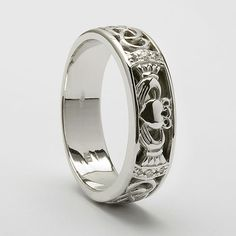 Claddagh wedding band - white gold with diamonds... except I would do yellow gold!