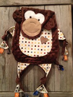 Monkey Tag Blankie Lovey Tag Blanket by TiedByTi on Etsy