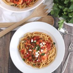 This fabulous Mediterranean Shrimp Pasta is so easy, yet tastes so gourmet! Impressive for dinner parties, but quick enough for busy nights!