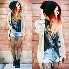 black beanie + fishet tights + slouchy cardigan + creepers