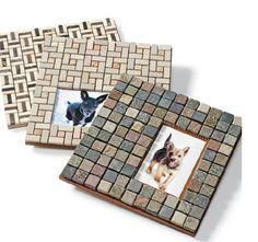Customized Tile Photo Frames~great idea for leftover tile! Cool Picture Frames, Photo Frames Diy, Picture Tiles, Diy Projects To Try, Craft Projects, Craft Ideas, Leftover Tile, Frame Crafts, Diy Frame
