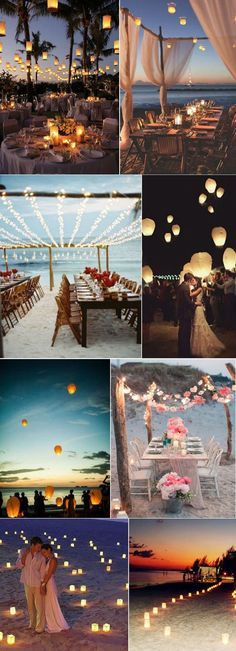 Romantic Beach Wedding Decoration Ideas With Candles Stringligjhts And Lanterns. Romantic Beach W Beach Wedding Decorations, Beach Wedding Favors, Wedding Table, Wedding Ceremony, Wedding Venues, Wedding Cakes, Wedding On The Beach, Wedding Centerpieces, Table Decorations