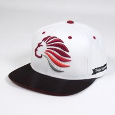 King Apparel British streetwear. This is a Limited edition Starter collaboration Snapback cap. The first UK brand with the coveted Starter Black Label premium affiliation.  White body with black bill and burgundy underbill. Classic Prestige Lion logo 3D embroidery on front in burgundy, red, blood orange and grey.