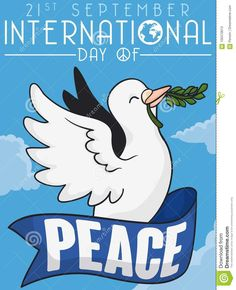 Flying Dove With Olive Branch And Ribbon For Peace Day, Vector Illustration Stock Vector - Illustration of cartoon, peace: 100470613 Dove With Olive Branch, International Day Of Peace, Little Designs, White Doves, Designs To Draw, Ribbon, Cartoon, Drawings, Illustration