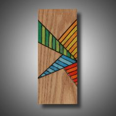 """Original Mixed Media on Oak, """"Candy Blast"""" Pyrography (Wood Burning) with Prismacolor Pencil, 3.5"""" x 8.75"""" by MudHorseArt on Etsy https://www.etsy.com/listing/186204280/original-mixed-media-on-oak-candy-blast"""