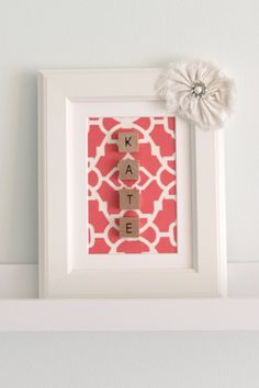 Personalized Pink and Creamy White Lattice Name Frame. Would be so easy to create yourself. Scrabble Tile Crafts, Scrabble Letters, Xmas Gifts, Craft Gifts, Diy Gifts, Crafts To Make, Home Crafts, Arts And Crafts, Craft Projects