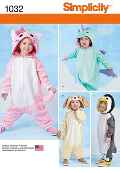 259bfff132eaa CHILD COSTUME PATTERN   Make Unicorn - Cat - Dog - Penguin Jumpsuits with  Hoods   Boy - Girl Size 1 2 to 4   Halloween