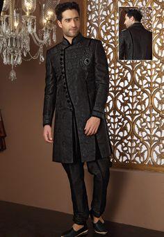 Buy Charcoal Black Banarasi Art Silk Readymade Sherwani with Aligarh Pyjama online, work: Embroidered, color: Charcoal, usage: Wedding, category: Mens Wear, fabric: Art Silk, price: $396.80, item code: MCD2150, gender: women, brand: Utsav