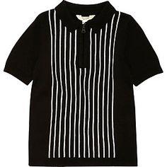 Zwart-wit gestreept tricot poloshirt voor jongens