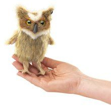 Folkmanis Mini Great Horned Owl Finger Puppet Available at OurPamperedHome.com