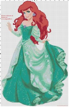 Schema punto croce Ariel la sirenetta Cross Stitch Charts, Cross Stitch Embroidery, Hand Embroidery, Cross Stitch Patterns, Disney Little Mermaids, The Little Mermaid, Little Mermaid Characters, Disney Stitch, C2c Crochet