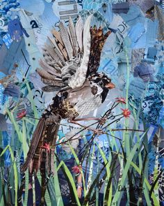 A sparrow carrying flowers and sticks on a blue and green background. Original wall art collage made from torn magazines and limited edition art prints