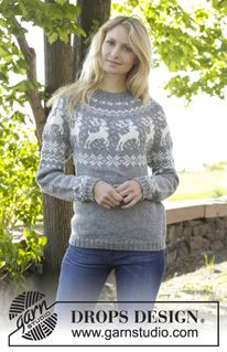 """Knitted DROPS jumper with round yoke, reindeer pattern, worked top down in """"Karisma"""". Size: S - XXXL. ~ DROPS Design"""