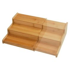 """Seville 3-Tier Expandable Bamboo Spice Organizer Shelf - Natural.   3.3 """" H x 15.0 """" W x 8.25 """" D"""