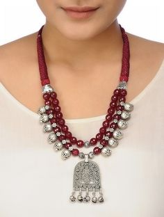 Buy Maroon Faceted Onyx Thread Necklace with Paisley Design Brass Fashion Jewelry Necklaces/Pendants Diy Jewelry Necklace, Silver Bead Necklace, Fashion Jewelry Necklaces, Necklace Designs, Fashion Necklace, Beaded Jewelry, Jewelery, Necklace Online, Stud Earrings