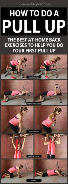 5 of the best exercises to help you do your first pull up - At-home workout from. - Fitness and Exercises Fitness Workouts, Fun Workouts, At Home Workouts, Fitness Tips, Circuit Workouts, Toning Workouts, Workout Routines, Cardio, Fitness Motivation