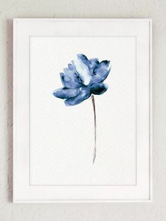 Lotus Set of 2 Watercolor Painting Blue Water Flowers Art