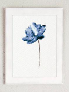 Lotus Set 2 Aquarell blaues Wasser Blumen Kunstdruck moderne