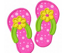 307 Flower Flip Flops Machine Embroidery by AppliqueCafeDesigns