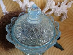 Fenton Blue Opalescent Daisy & Button covered GLASS by JleCROW