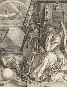 Albrecht Dürer, Melencolia I (B. 74; M., Holl. 75; S.M.S. 71). Engraving, 1514, without watermark, a very fine, rich Meder IIa impression, printing very darkly in the shadows, on a large sheet with wide margins, with inky plate edges in places, with a horizontal central crease, mostly visible in the margins andverso, some pale scattered foxing in the margins, in excellent condition. S. 13 3/8 x 10 5/8 in.