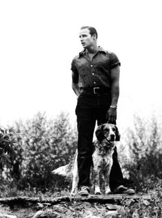 Marlon Brando with his dog.