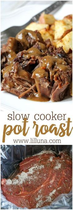 Our favorite Pot Roast recipe - 2 minute prep time and just stick in the crock pot!
