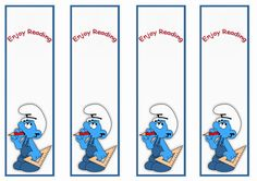 Smurfs Birthday Printable Bookmarks Click image below to enlarge and print