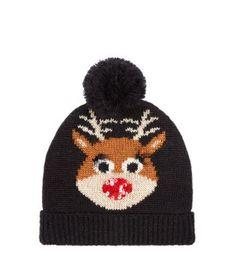Black Rudolph Sequin Nose Bobble Hat