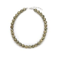 Kluster Happy Jewelry - Chunky Spotted Leopard Necklace in Spot Jasper and Sterling Silver