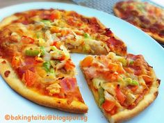 Baking Taitai: Two Ingredients Pizza Dough Recipe 两种材料皮萨面团食谱 (中英食谱) Yogurt Recipes, Pizza Recipes, Dessert Recipes, Easy Recipes, Desserts, Healthy Pizza Dough, 2 Ingredient Pizza Dough, Just Pizza, Bread Jam
