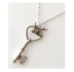 Heart Key Necklace Jewelry Skeleton Key Silver Key