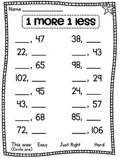 One more one less differentiated worksheets!