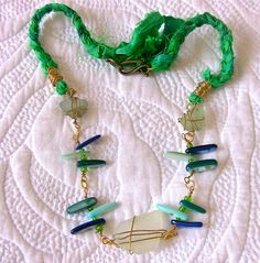 Sea Glass Necklace in Blue Green Ocean Colors by BayMoonDesign, $55.00