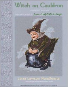 Witch on Cauldron cross stitch patterns by Lena Lawson Needlearts artwork by Jean-Baptiste Monge Halloween flying by thecottageneedle