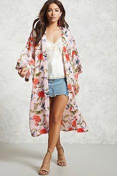 Floral Satin Kimono