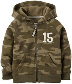Carters Baby Boys Zip Fleece Hooodie Baby  Green Camo  12M *** Learn more by visiting the image link. (This is an affiliate link) #BabyBoyHoodiesandActive