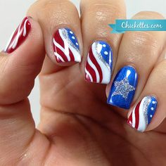 Patriotic Fourth of July Nail Art