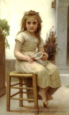 """Le Gouter"" 1895 oil on canvas by William-Adolphe Bouguereau (1825-1905)"