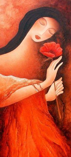 woman with a poppy by Anita Burnaz