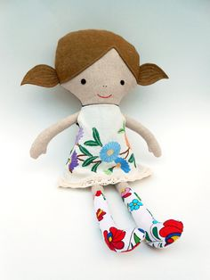 Dress up doll fabric doll rag doll cloth doll 50 by LaLobaStudio Doll Clothes Patterns, Doll Patterns, Handmade Soft Toys, Handmade Gifts, Felt Dolls, Dolls Dolls, Rag Dolls, Dress Up Dolls, Sensory Toys