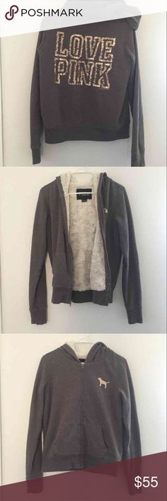 Victoria Secret Pink Bling Jacket Good condition - has fluff on the inside of Jacket - gray with Gold Bling - bought for $75 - has a couple flaws - size XS - looking to trade PINK Victoria's Secret Jackets & Coats