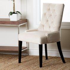 Abbyson Maverick Fabric Tufted Dining Chair Cream - HS-DC-013-CRM