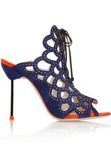 Sophia Webster Greta crystal-embellished cutout suede sandals | NET-A-PORTER